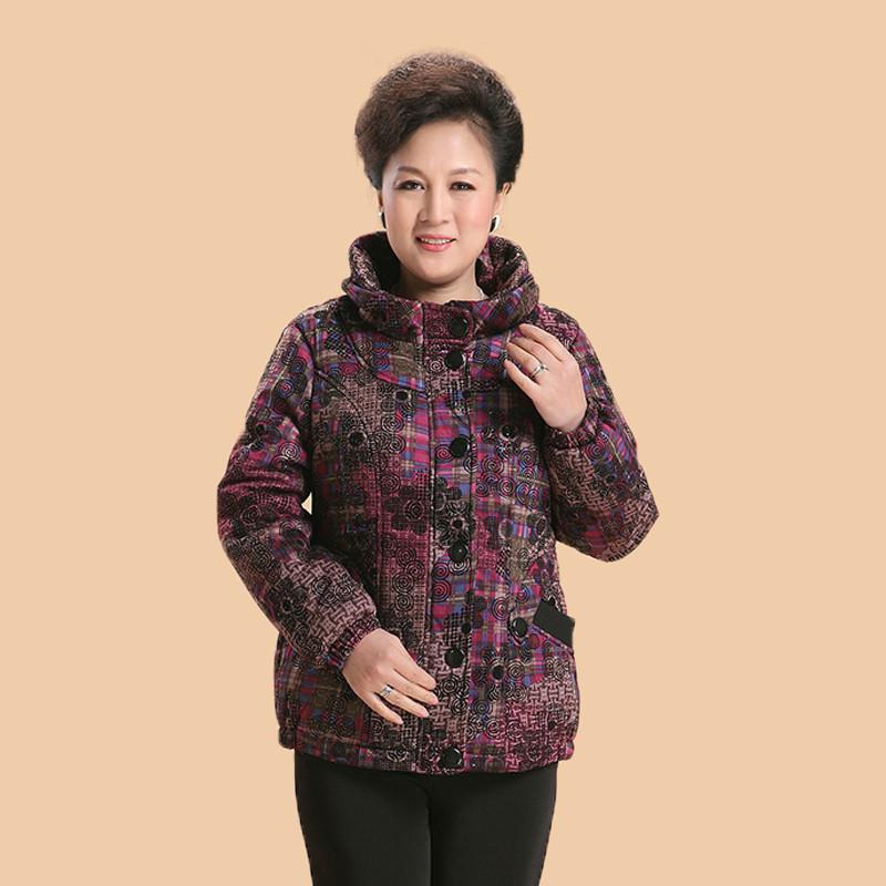 欧姿莲 中老年女装冬装花式加绒棉服 hz1361图片