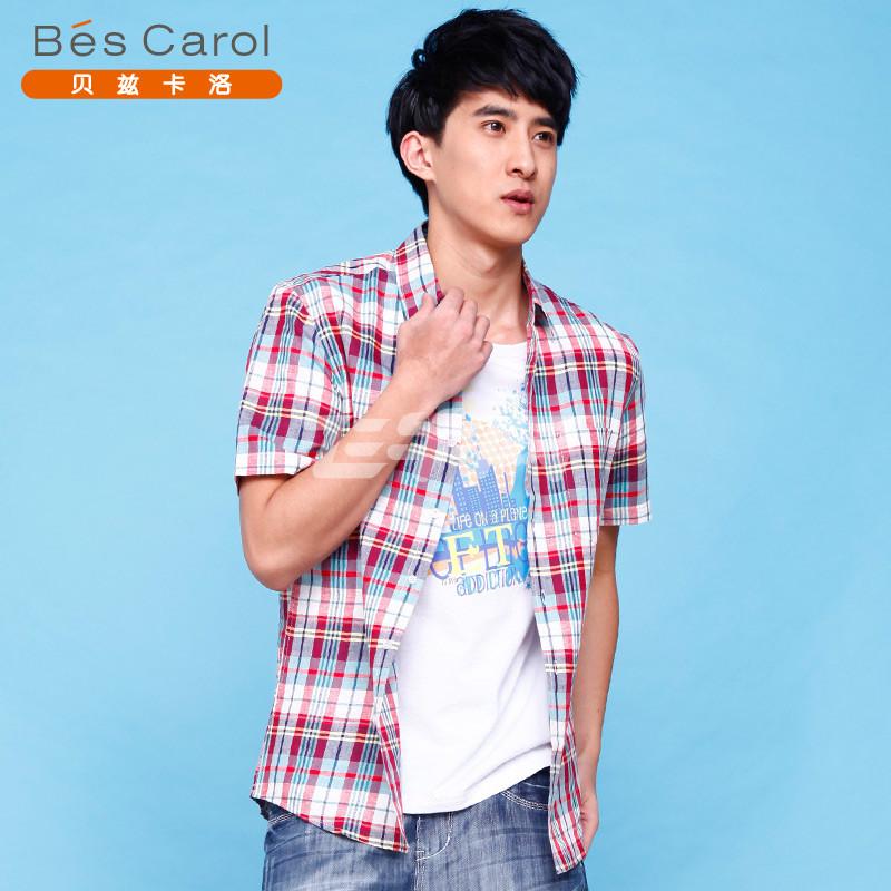 BES CAROL贝兹卡洛 男红色色织格子衬衫 63