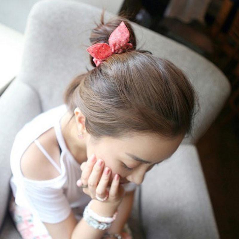 韩版 雪纺波点纯色布艺小兔耳朵发圈发扎发绳头绳