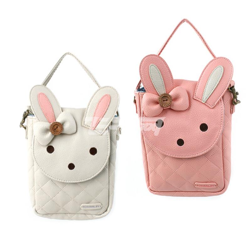 momoailey ma0335可爱小兔搭扣口袋迷你斜挎包女童手拎包7~12岁 浅