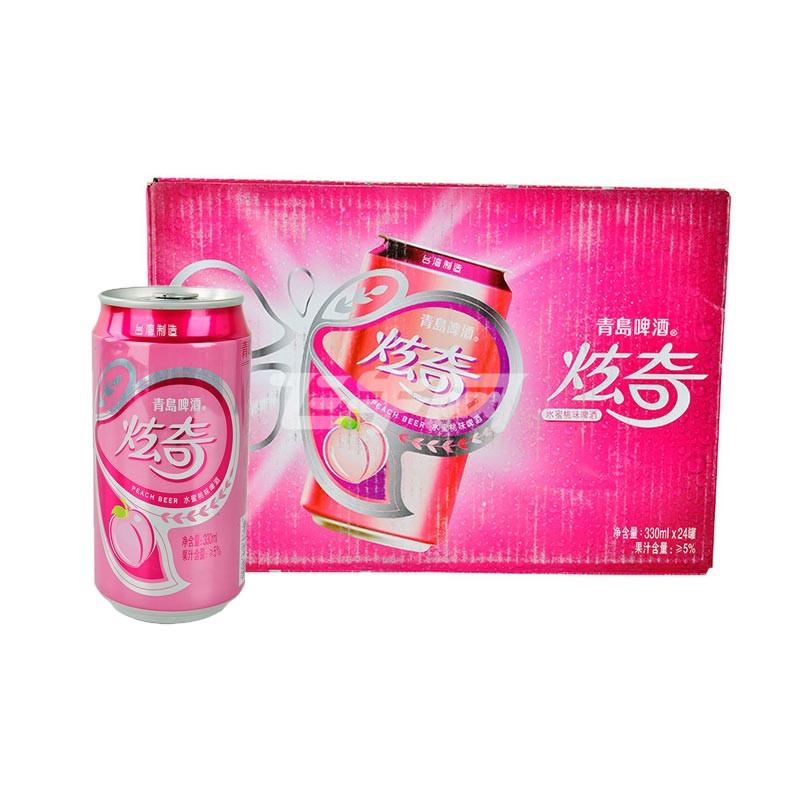 青岛啤酒炫奇水蜜桃味啤酒330ml*24听/箱