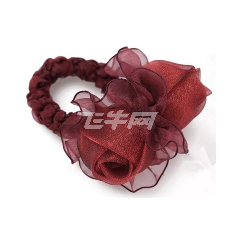 玫瑰绢纱花新娘头饰