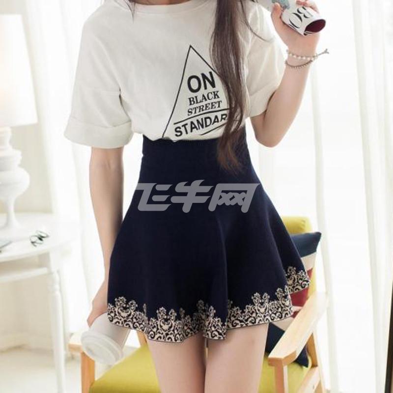 藏青色伞裙搭配图片