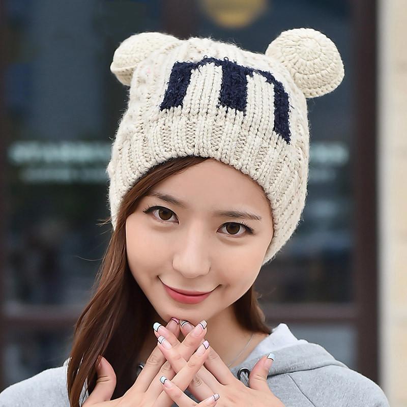 法蒂洛 秋冬韩版毛线帽可爱猫耳朵护耳保暖针织帽子 mz30
