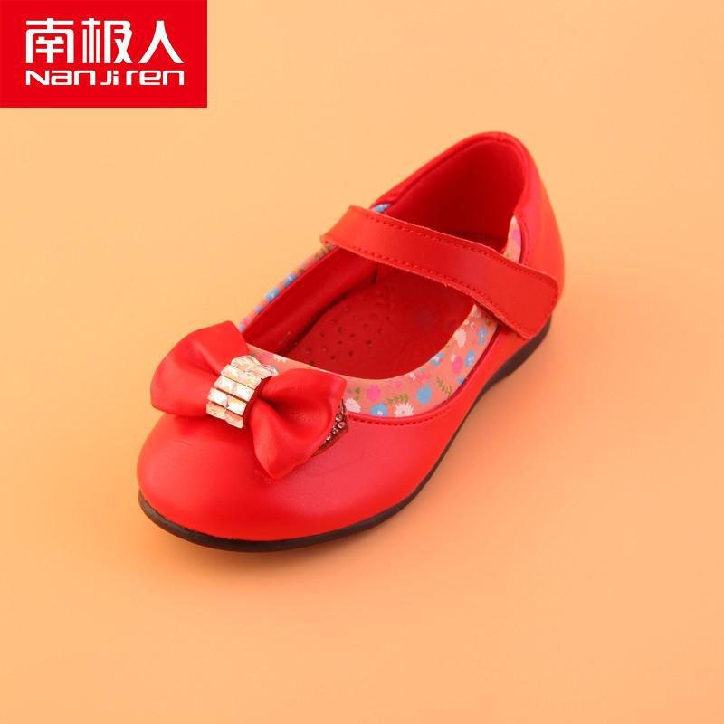 南极人 秋季新款女童皮鞋儿童甜美公主童鞋印花红色小