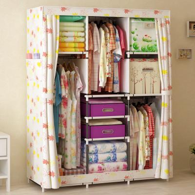 家世比 简易衣柜组装折叠收纳布衣柜加固钢管架单人款布艺衣橱 hbyr