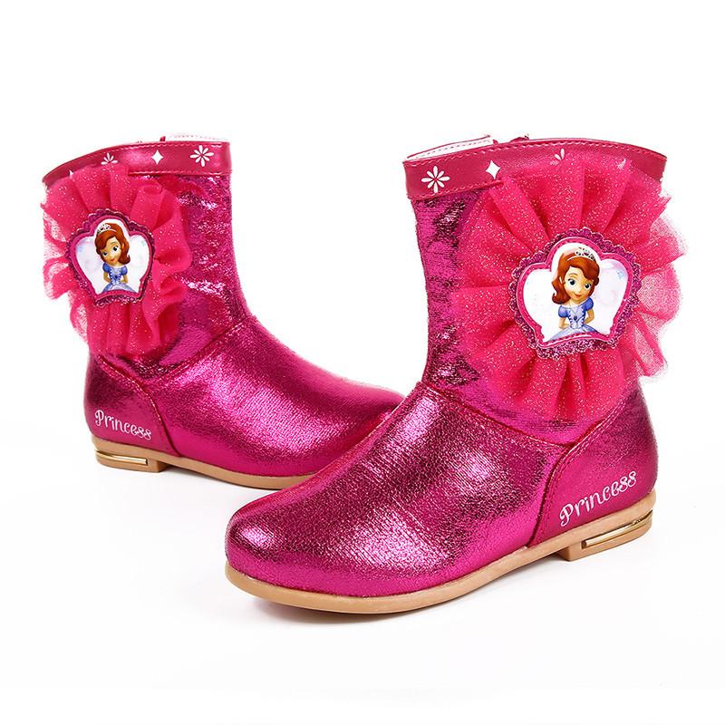 迪士尼 儿童鞋公主靴苏菲亚小公主皮靴女童鞋短靴子保暖加绒时装靴 s