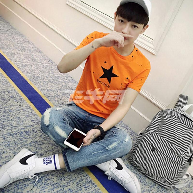 泼墨字母星日系时尚青年波点星星印花短袖潮男韩版修身t恤 2039 橘色