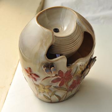 陶瓷流水喷泉工艺品家居装饰品摆设客厅摆件