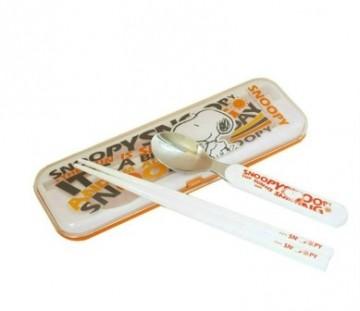 史努比 卡通便携金色年华个人旅游餐具组筷子勺子套餐