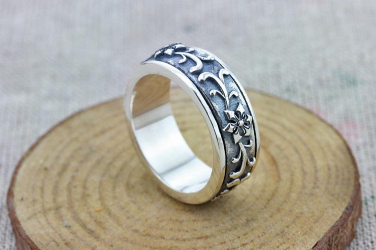 白月光 s925纯银男士戒指 可转动复古花纹泰银男款戒指 男士泰银 20号